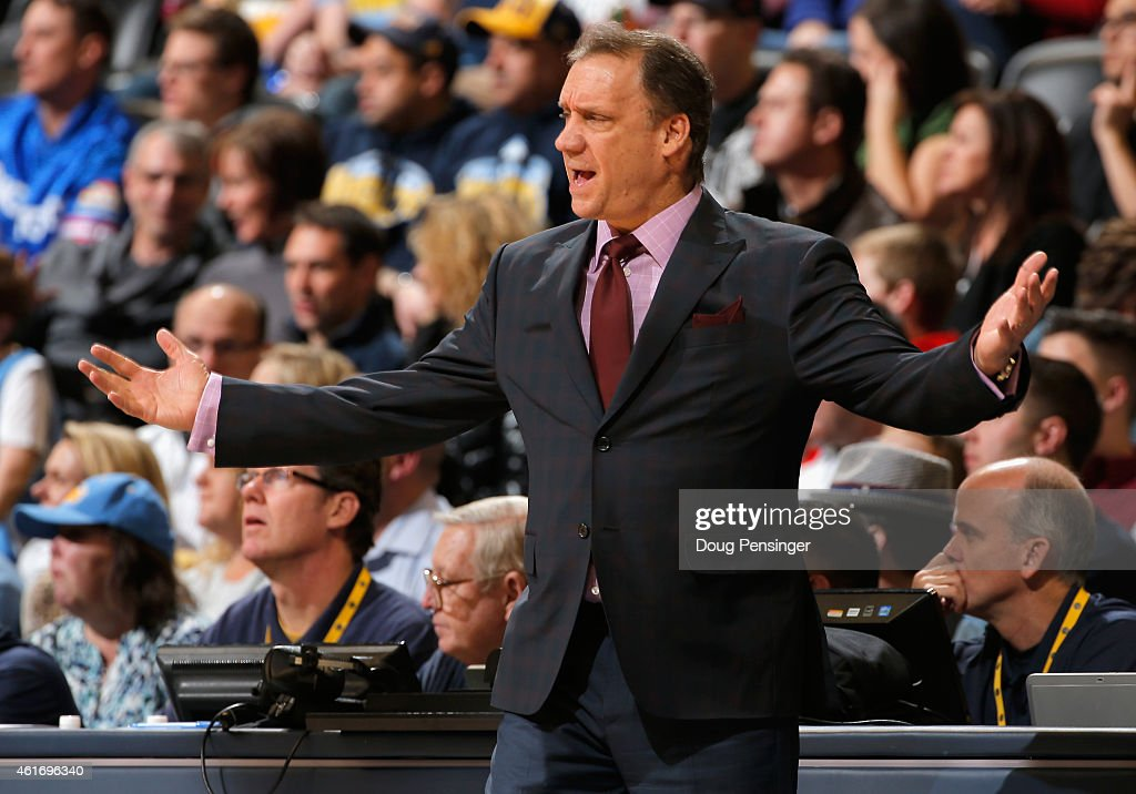 Head coach Flip Saunders of the Minnesota Timberwolves leads his team against the Denver Nuggets at Pepsi Center on January 17 2015 in Denver...