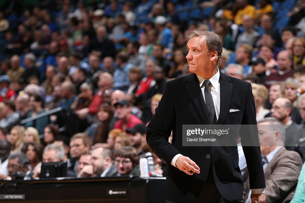 Head Coach Flip Saunders of the Minnesota Timberwolves looks on during the game against the Indiana Pacers on October 21 2014 at Target Center in...