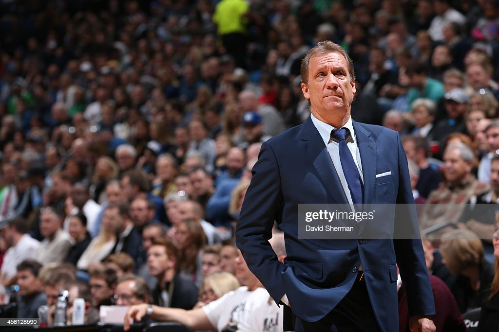 Head Coach Flip Saunders of the Minnesota Timberwolves looks on during the game against the Detroit Pistons on October 30 2014 at Target Center in...