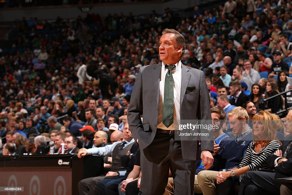 Head Coach Flip Saunders of the Minnesota Timberwolves looks on during the game against the Los Angeles Clippers on March 2 2015 at Target Center in...