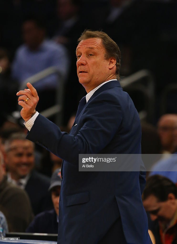 Head coach Flip Saunders of the Minnesota Timberwolves looks on against the New York Knicks during their game at Madison Square Garden on March 19...