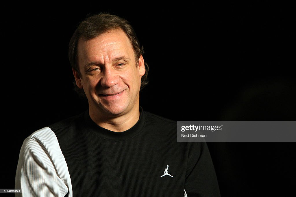 Head Coach Flip Saunders of the Washington Wizards smiles during and interview the 2009 NBA Training Camp at the Siegel Center on the campus of...
