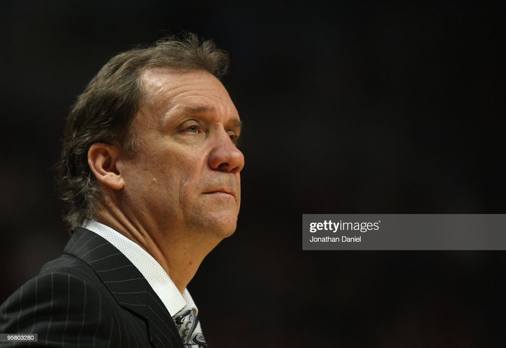 Head coach Flip Saunders of the Washington Wizards watches as his team takes on the Chicago Bulls at the United Center on January 15 2010 in Chicago...