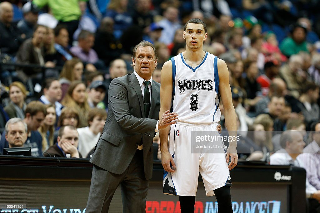 Head coach Flip Saunders talks with Zach LaVine of the Minnesota Timberwolves during the game against the Brooklyn Nets on March 16 2015 at Target...