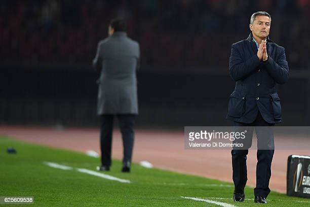 Head coach Fran Escriba of Villareal and head coach Uli Forte of FC Zuerich reacts during the UEFA Europa League match between FC Zurich and...