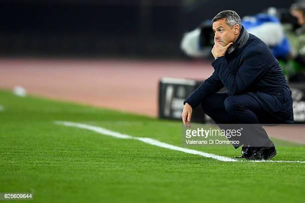 Head coach Fran Escriba of Villareal reacts during the UEFA Europa League match between FC Zurich and Villarreal CF at Letzigrund Stadium on November...