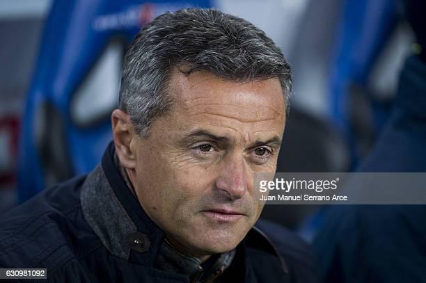 Head coach Fran Escriba of Villarreal CF looks on prior to the start the Copa del Rey Round of 16 first leg match between Real Sociedad de Futbol and...