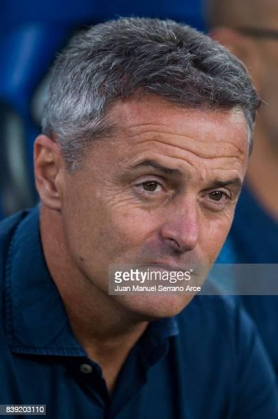 Head coach Fran Escriba of Villarreal CF looks on prior to the start the La Liga match between Real Sociedad de Futbol and Villarreal CF at Estadio...