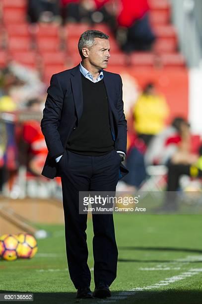 Head coach Fran Escriba of Villarreal CF reacts during the La Liga match between Real Sporting de Gijon and Villarreal CF at Estadio El Molinon on...