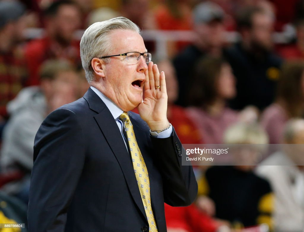 Head coach Fran McCaffery of the Iowa Hawkeyes coach from the bench in the first half of play again sub the Iowa State Cyclones at Hilton Coliseum on December 7, 2017 in Ames, Iowa.