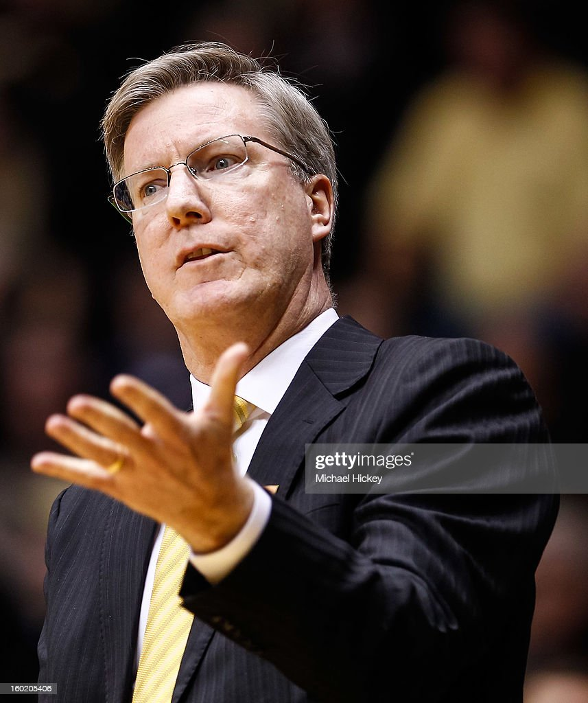 Head coach Fran McCaffery of the Iowa Hawkeyes gestures on the sidelines during the game against the Purdue Boilermakers at Mackey Arena on January 27, 2013 in West Lafayette, Indiana. Purdue defeated Iowa 65-62 in overtime.