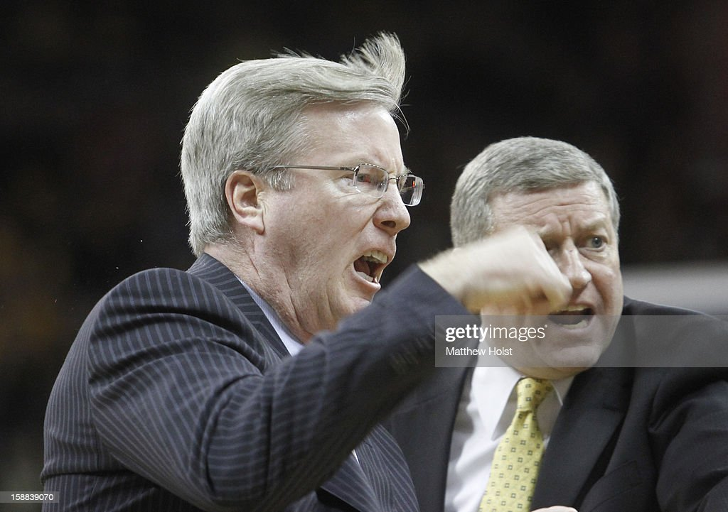 Head coach Fran McCaffery of the Iowa Hawkeyes yells during a timeout in the first half against the Indiana Hoosiers on December 31, 2012 at Carver-Hawkeye Arena in Iowa City, Iowa. Indiana won 69-65.