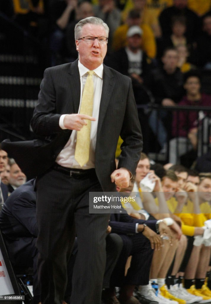 Head coach Fran McCaffery of the Iowa Hawkeyes yells during the first half against the Indiana Hoosiers on February 17, 2018 at Carver-Hawkeye Arena, in Iowa City, Iowa.