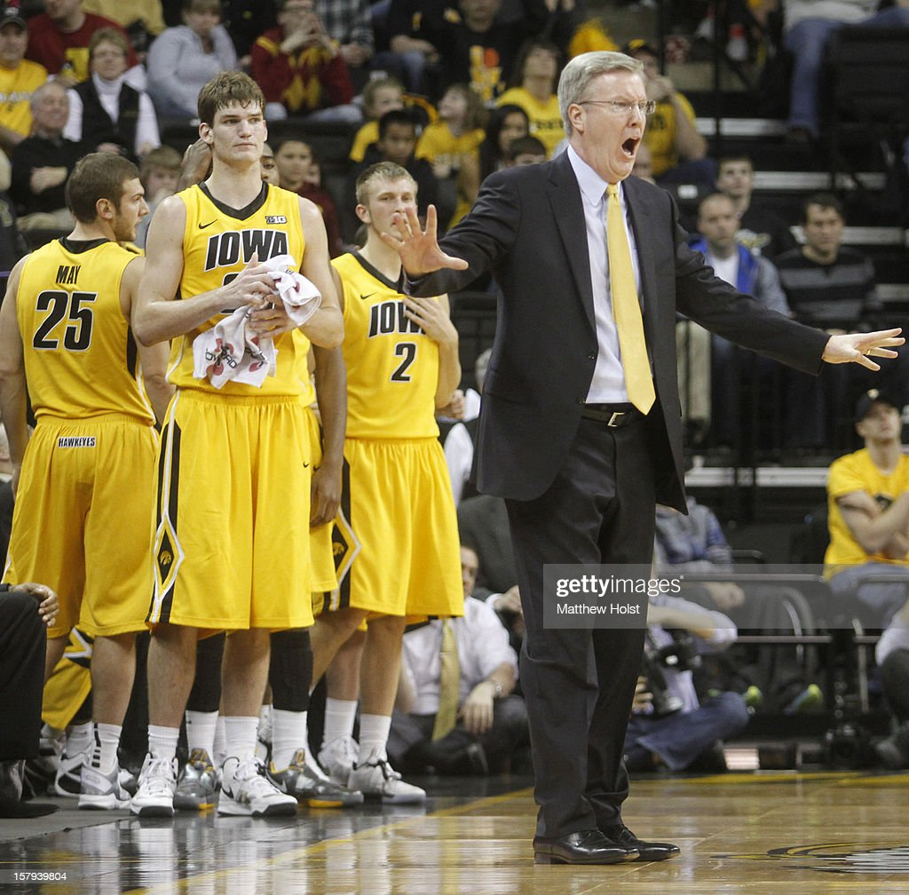 Head coach Fran McCaffery of the Iowa Hawkeyes yells during the second half against the Iowa State Cyclones on December 7, 2012 at Carver-Hawkeye Arena in Iowa City, Iowa. Iowa defeated Iowa State 80-71.