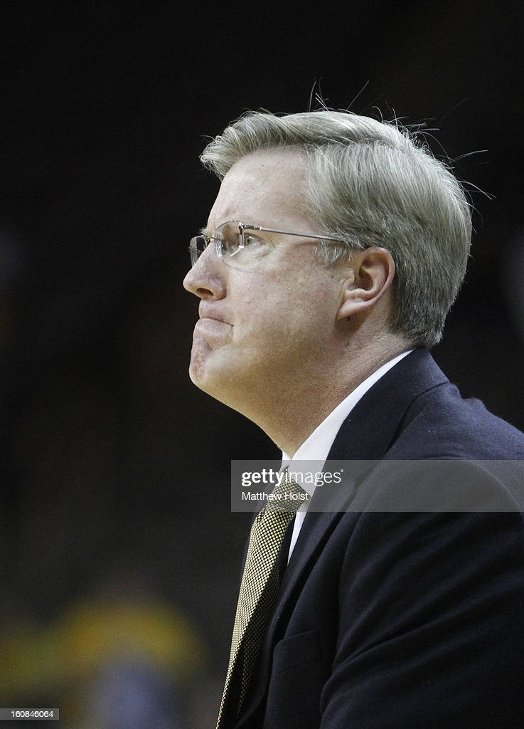 Head coach Fran McCaffery reacts to a call during the second half against the Penn State Nittany Lions on January 31, 2013 at Carver-Hawkeye Arena in Iowa City, Iowa. Iowa won 76-67.