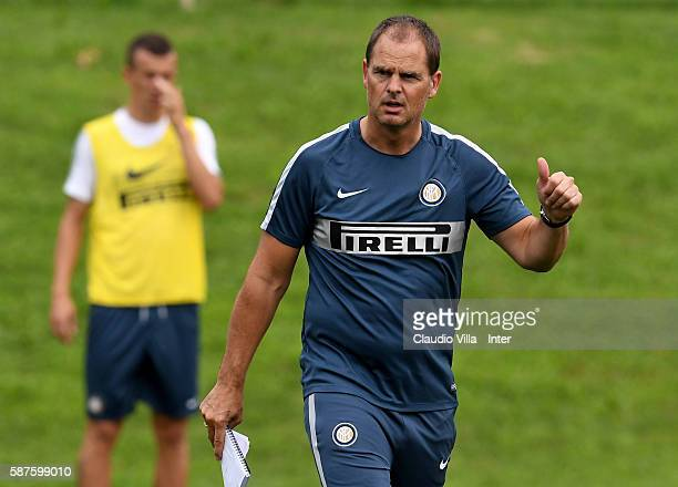 Head coach Franck de Boer reacts during the FC Internazionale training session at the club's training ground at Appiano Gentile on August 9 2016 in...