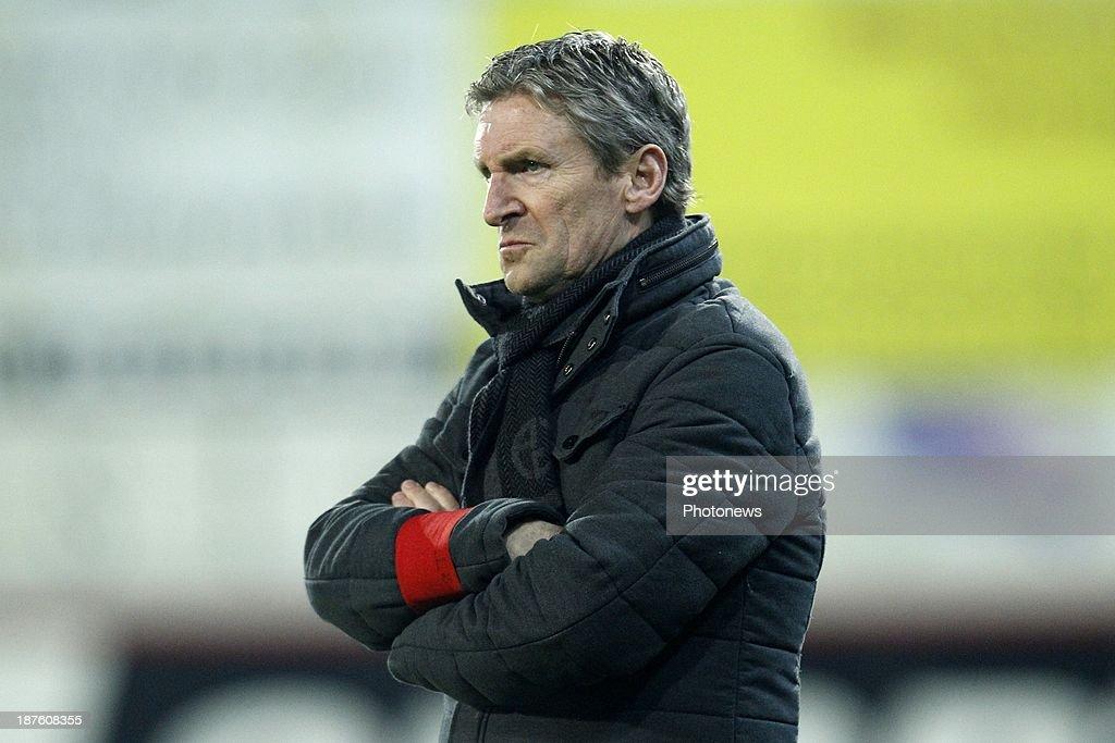 Head coach Francky Dury of Zulte Waregem during the Jupiler Pro League match between Zulte Waregem and Waasland Beveren on November 10, 2013 in Waregem, Belgium.