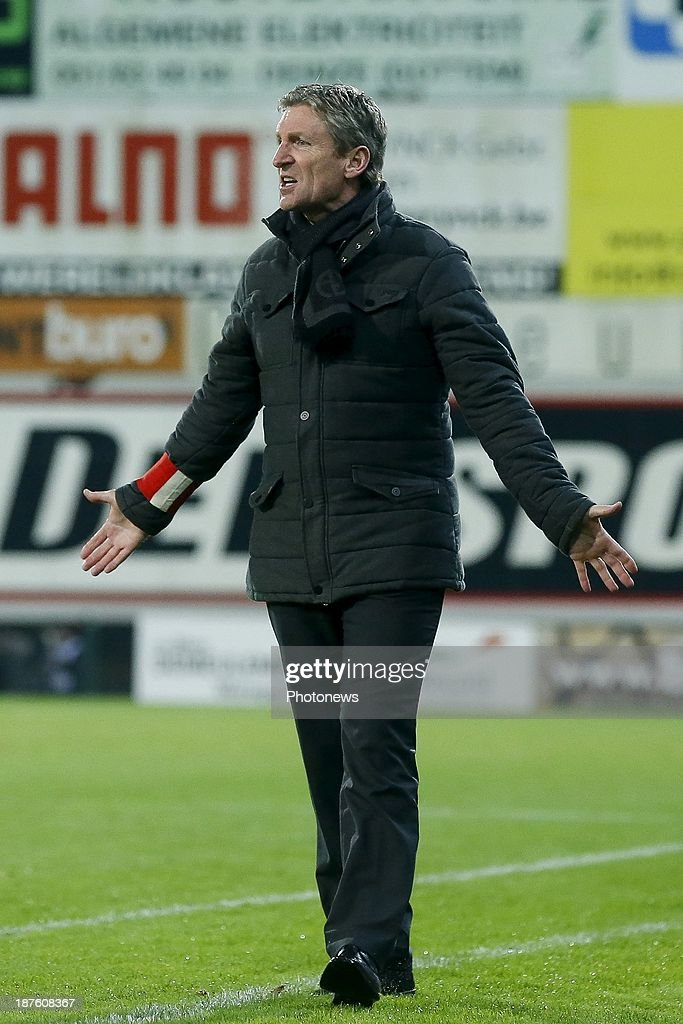 Head coach Francky Dury of Zulte Waregem during the Jupiler Pro League match between Zulte Waregem and Waasland Beveren on November 10, 2013 in Waregem, Belgium.