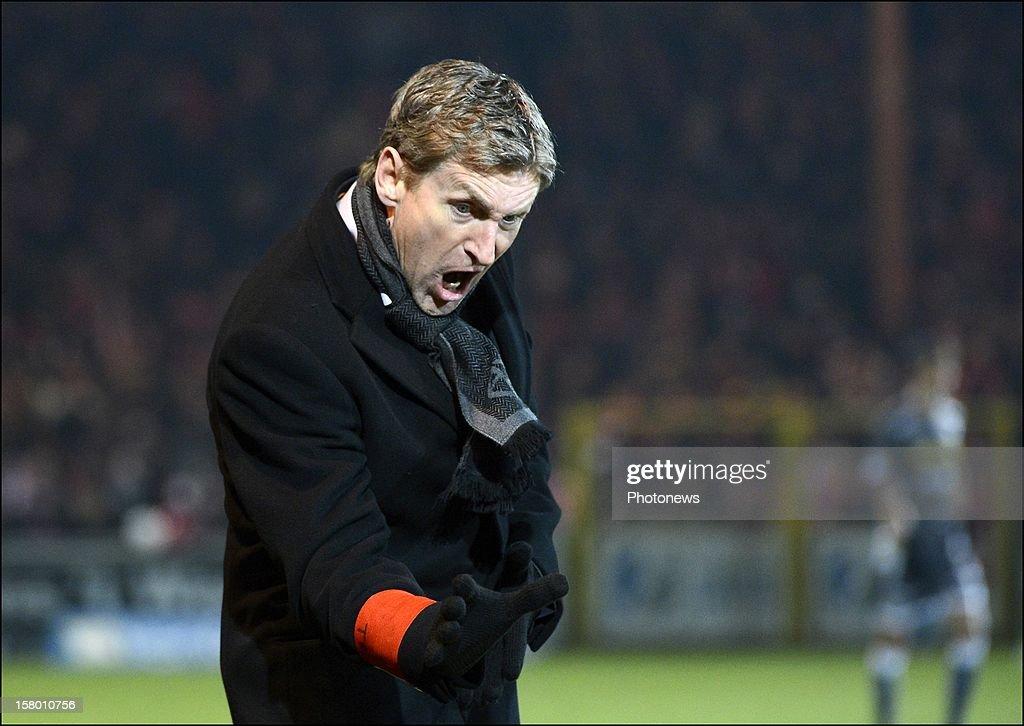 Head coach Francky Dury of ZulteWaregem pictured during the Jupiler League match between Kv Kortrijk and Zulte Waregem on december 08 2012 in...