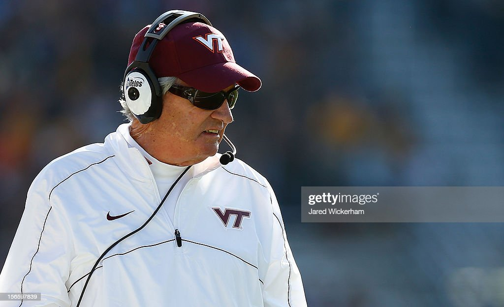 Head coach <a gi-track='captionPersonalityLinkClicked' href=/galleries/search?phrase=Frank+Beamer&family=editorial&specificpeople=234759 ng-click='$event.stopPropagation()'>Frank Beamer</a> of the Virginia Tech Hokies watches his team play against the Boston College Eagles during the game on November 17, 2012 at Alumni Stadium in Chestnut Hill, Massachusetts.