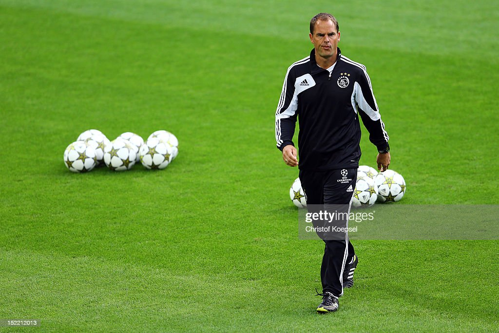 Head coach <a gi-track='captionPersonalityLinkClicked' href=/galleries/search?phrase=Frank+De+Boer&family=editorial&specificpeople=1006742 ng-click='$event.stopPropagation()'>Frank De Boer</a> issues instructions during the training session of Ajax Amsterdam at Signal-Iduna Park in Dortmund, Germany. The UEFA Champions League group D match between Borussia Dortmund and Ajax Amsterdam at Signal Iduna Park will be on September 18, 2012 in Dortmund, Germany.