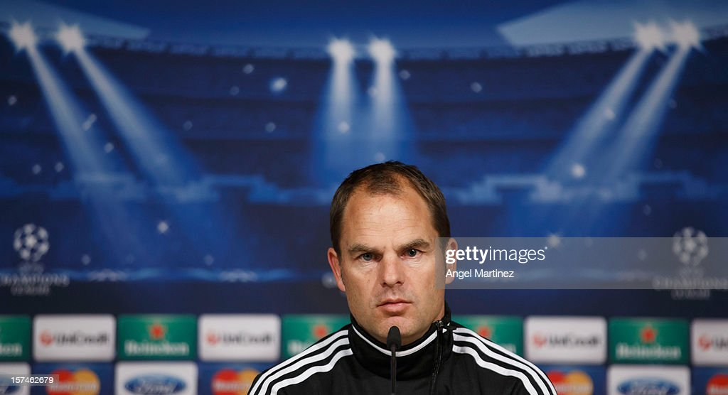 Head coach Frank de Boer of AFC Ajax attends a press conference ahead of their UEFA Champions League group stage match against Real Madrid at Estadio Santiago Bernabeu on December 3, 2012 in Madrid, Spain.