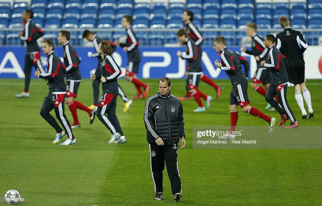 Head coach Frank de Boer of AFC Ajax attends a training session ahead of their UEFA Champions League group stage match against Real Madrid at Estadio Santiago Bernabeu on December 3, 2012 in Madrid, Spain.