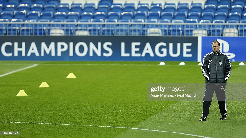 Head coach Frank de Boer of AFC Ajax looks on during a training session ahead of their UEFA Champions League group stage match against Real Madrid at Estadio Santiago Bernabeu on December 3, 2012 in Madrid, Spain.