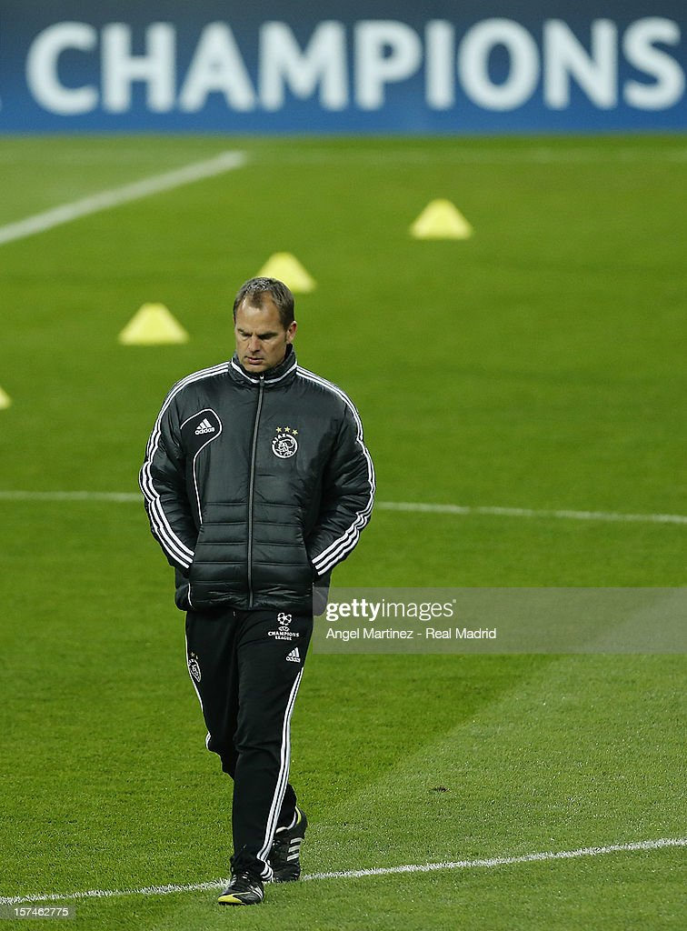 Head coach Frank de Boer of AFC Ajax walks on during a training session ahead of their UEFA Champions League group stage match against Real Madrid at Estadio Santiago Bernabeu on December 3, 2012 in Madrid, Spain.