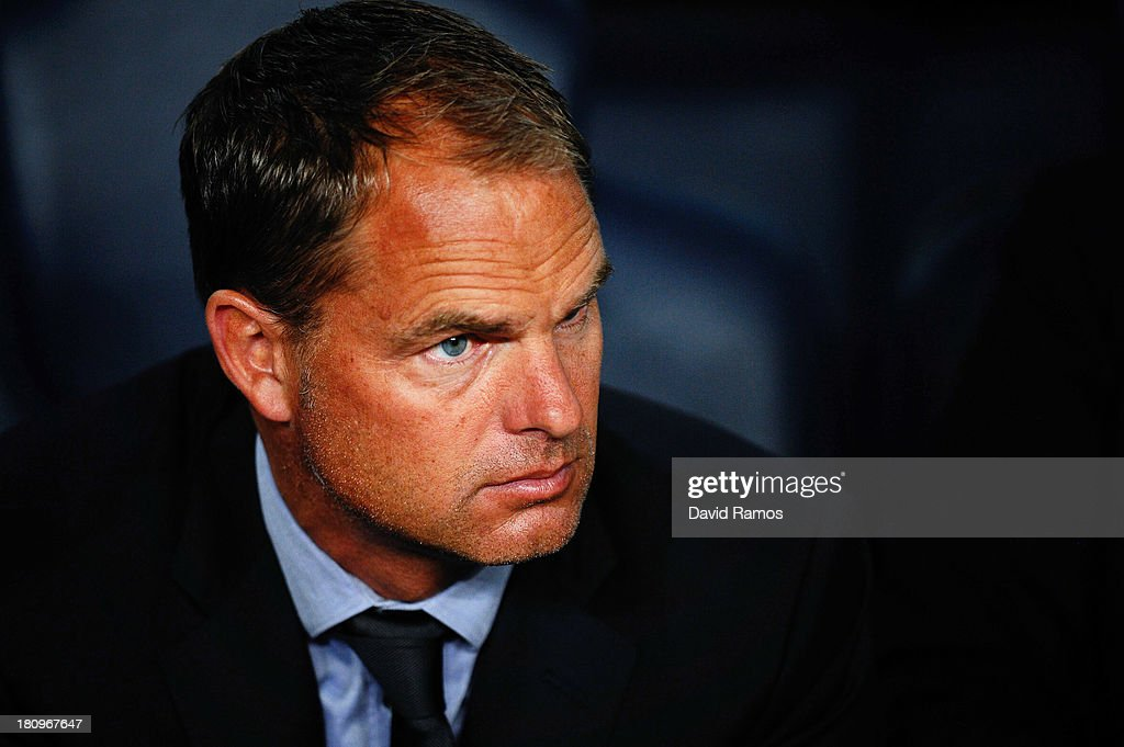 Head Coach <a gi-track='captionPersonalityLinkClicked' href=/galleries/search?phrase=Frank+De+Boer&family=editorial&specificpeople=1006742 ng-click='$event.stopPropagation()'>Frank De Boer</a> of Ajax Amsterdam looks on during the UEFA Champions League Group H match between FC Barcelona and Ajax Amsterdam ag the Camp Nou stadium on September 18, 2013 in Barcelona, Spain.