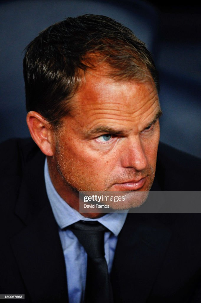 Head Coach Frank De Boer of Ajax Amsterdam looks on during the UEFA Champions League Group H match between FC Barcelona and Ajax Amsterdam ag the Camp Nou stadium on September 18, 2013 in Barcelona, Spain.