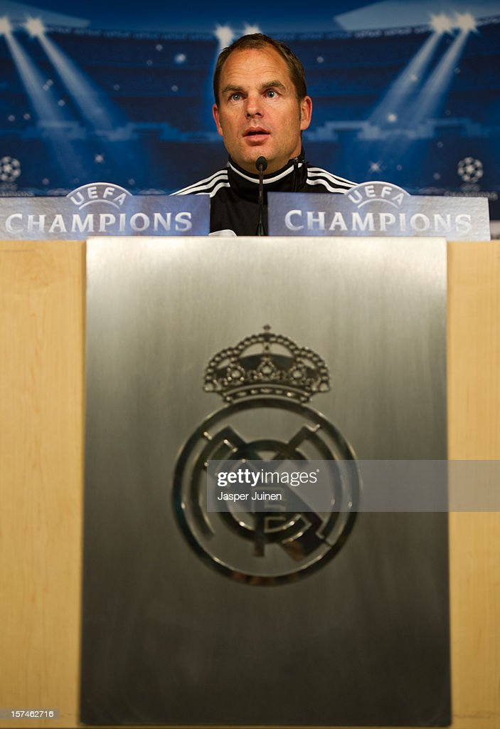 Head coach Frank De Boer of Ajax listens to questions from the media during a press conference ahead of the UEFA Champions League match between AFC Ajax and Real Madrid CF at the Estadio Santiago Bernabeu on December 3, 2012 in Madrid, Spain.