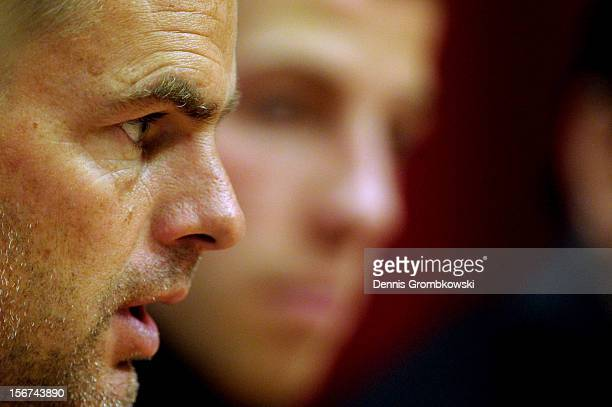 Head coach Frank de Boer of Amsterdam looks on during a press conference ahead of the UEFA Champions League match against Borussia Dortmund on...