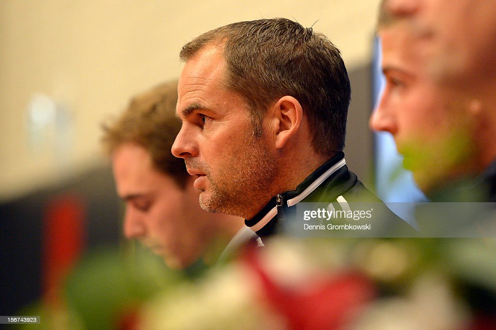 Head coach Frank de Boer of Amsterdam looks on during a press conference ahead of the UEFA Champions League match against Borussia Dortmund on November 20, 2012 in Amsterdam, Netherlands.