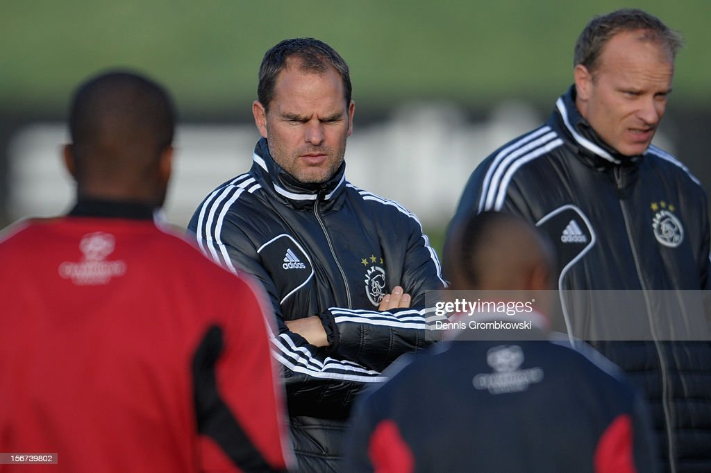 Head coach Frank de Boer of Amsterdam reacts during a training session ahead of the UEFA Champions League match against Borussia Dortmund on November 20, 2012 in Amsterdam, Netherlands.