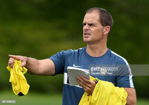 Head coach Frank de Boer reacts during the FC Internazionale training session at the club's training ground at Appiano Gentile on August 9 2016 in...