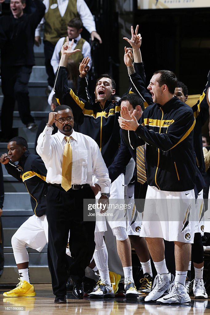 Head coach Frank Haith of the Missouri Tigers celebrates with players on the bench in the closing seconds of the game against the Florida Gators at Mizzou Arena on February 19, 2013 in Columbia, Missouri. Missouri upset Florida 63-60.