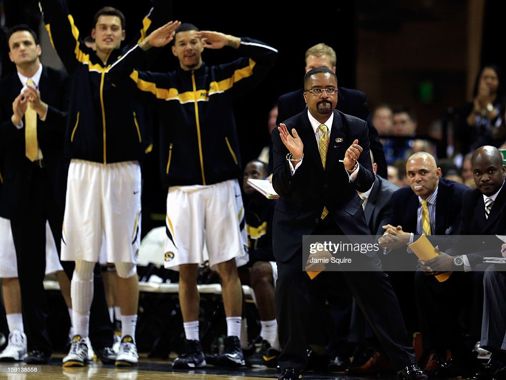 Head coach Frank Haith of the Missouri Tigers claps form the bench during the game against the Alabama Crimson Tide at Mizzou Arena on January 8, 2013 in Columbia, Missouri.