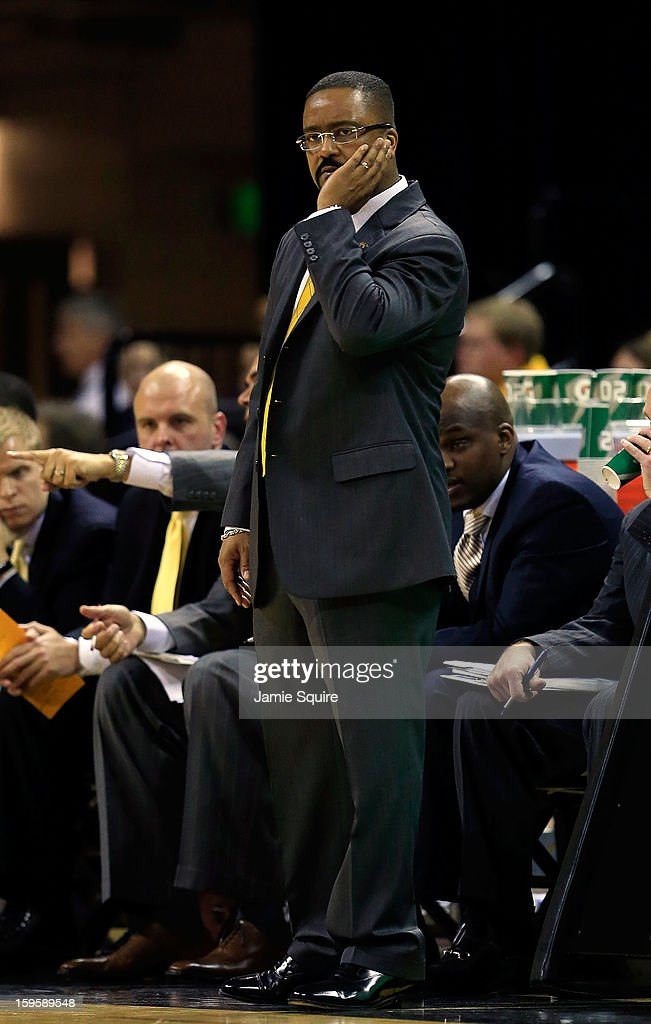 Head coach Frank Haith of the Missouri Tigers coaches from the bench during the game against the Georgia Bulldogs at Mizzou Arena on January 16, 2013 in Columbia, Missouri.