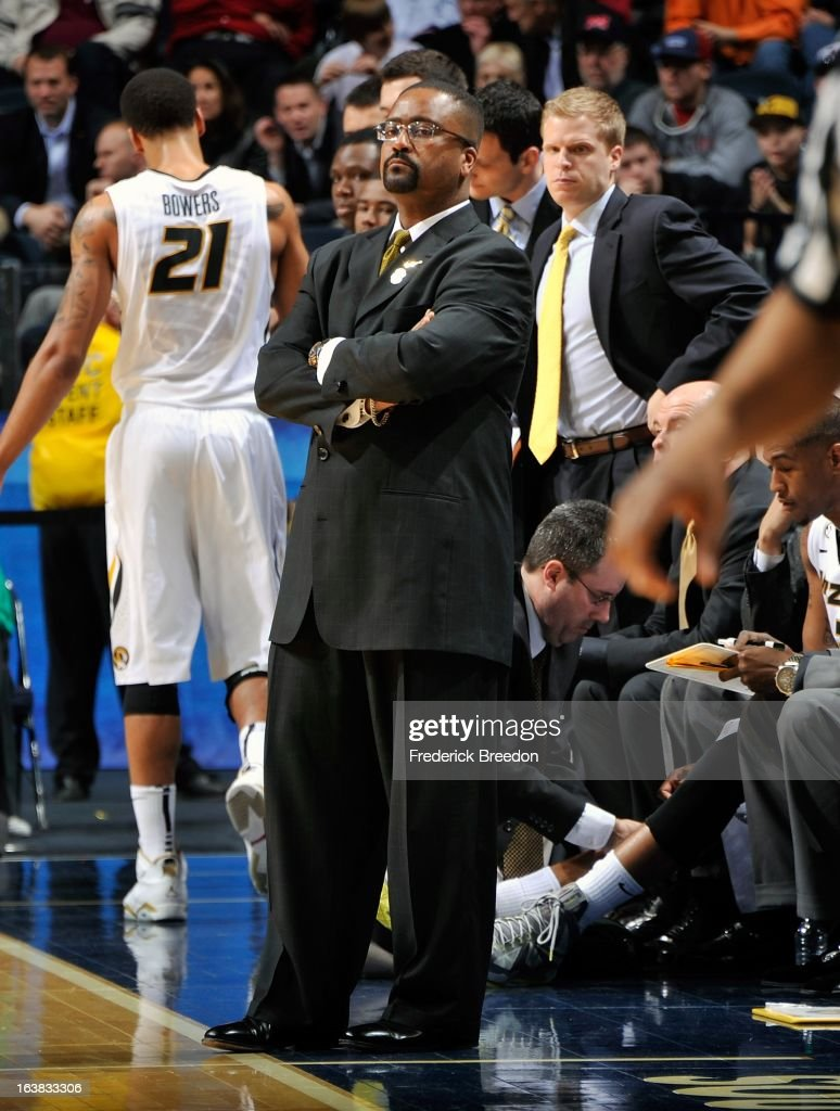 Head coach Frank Haith of the Missouri Tigers coaches his team against the Texas A&M Aggies during the second round of the SEC Men's Basketball Tournament at the Bridgestone Arena on March 14, 2013 in Nashville, Tennessee.