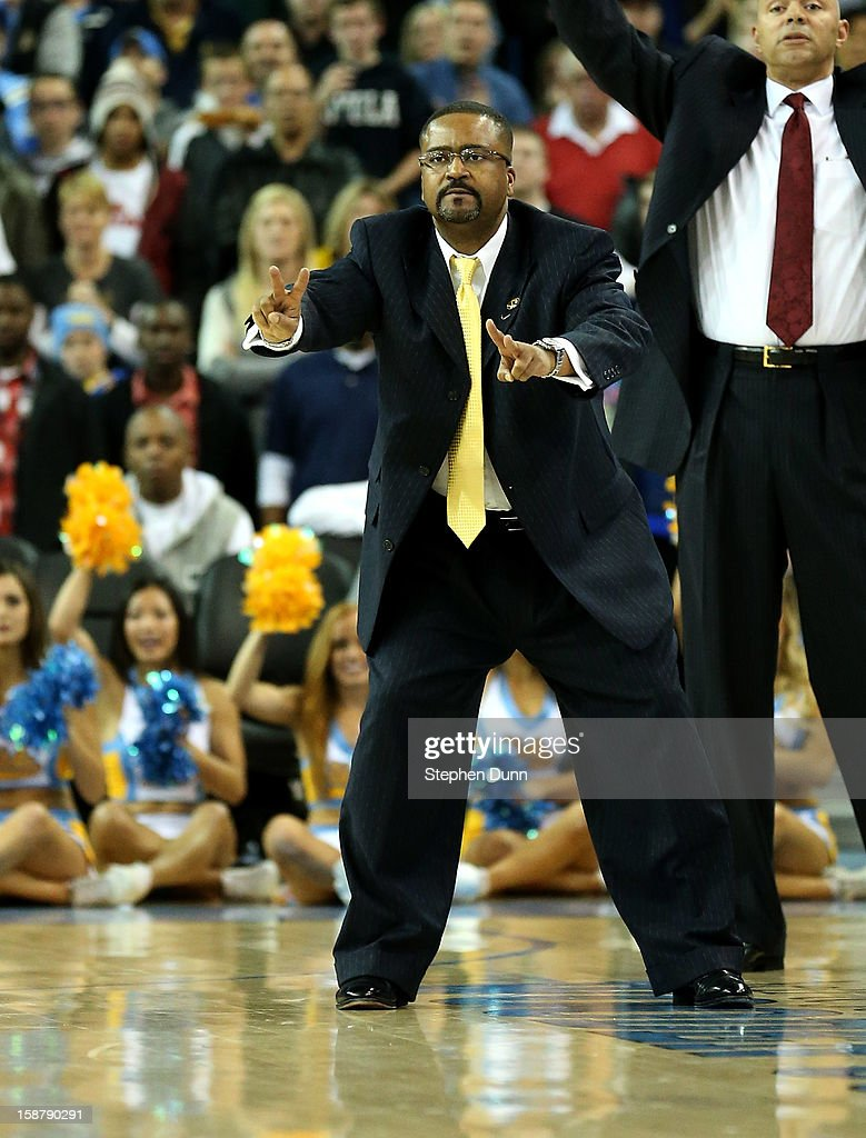 Head coach Frank Haith of the Missouri Tigers gestures during the overtime period against the UCLA Bruins at Pauley Pavilion on December 28, 2012 in Los Angeles, California. UCLA won 97-94 in overtime.
