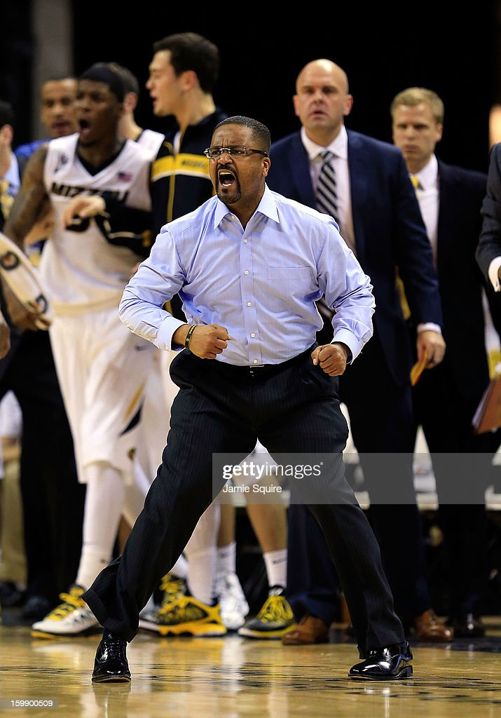 Head coach Frank Haith of the Missouri Tigers reacts during the game against the South Carolina Gamecocks at Mizzou Arena on January 22, 2013 in Columbia, Missouri.