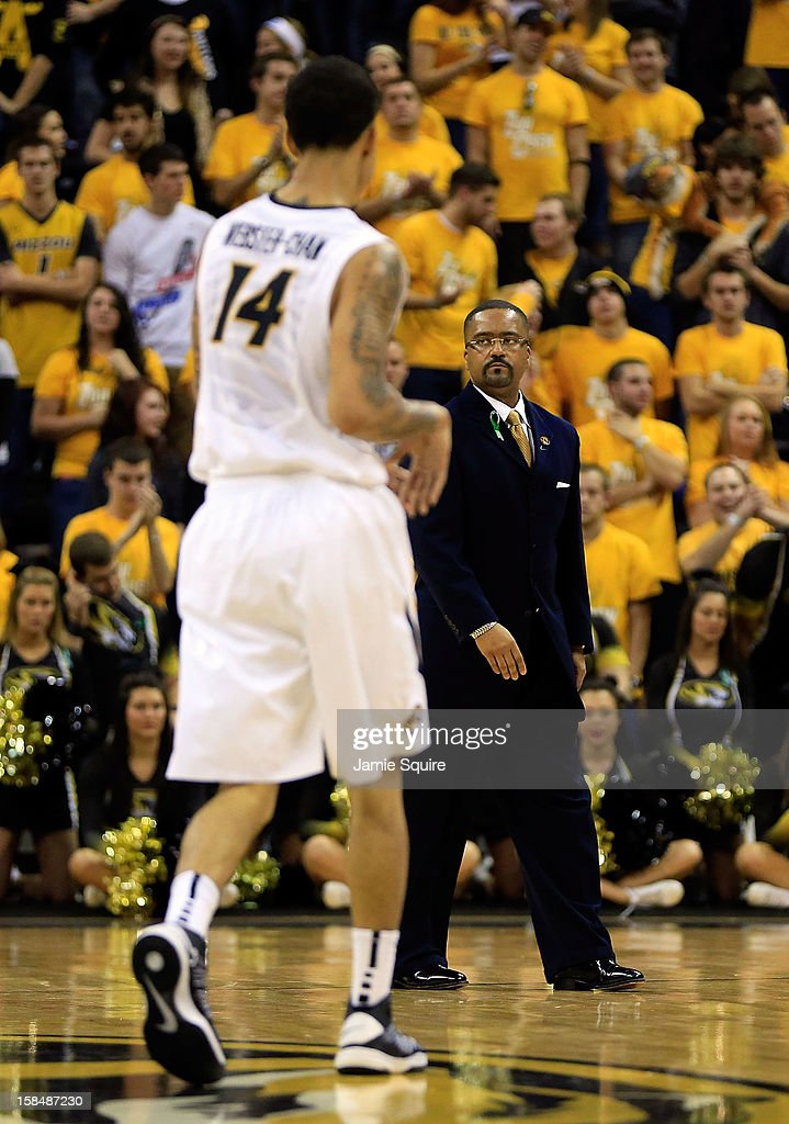 Head coach Frank Haith of the Missouri Tigers walks onto the court duringa timeout in the game against the South Carolina State Bulldogs at Mizzou Arena on December 17, 2012 in Columbia, Missouri.