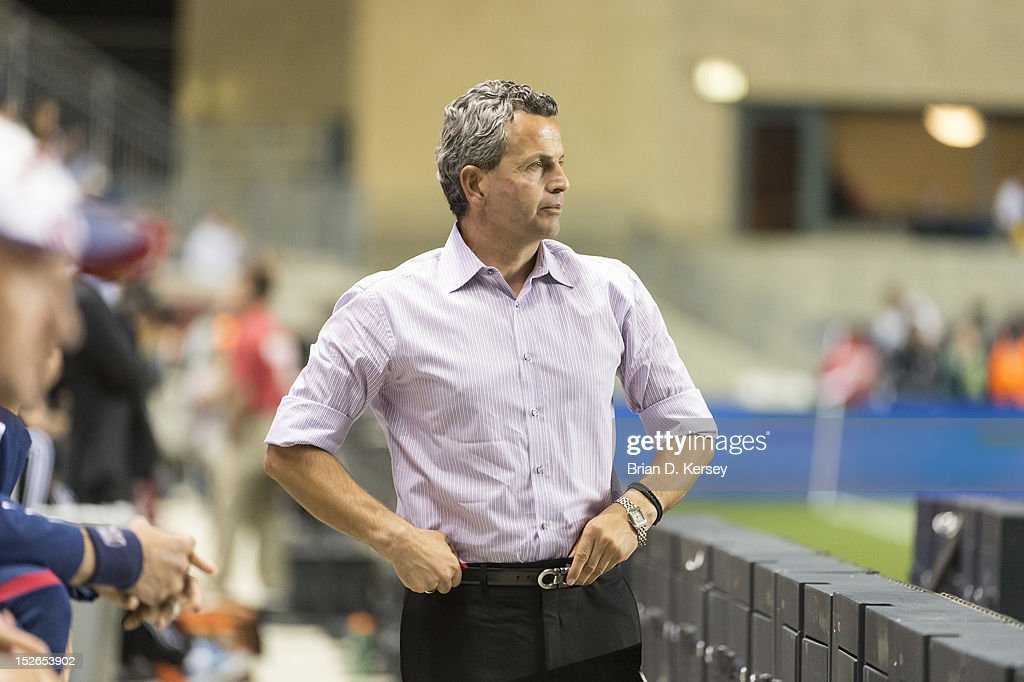 Head coach Frank Klopas of Chicago Fire stands on the sideline against the Montreal Impact at Toyota Park on September 15, 2012 in Bridgeview, Illinois. The Fire defeated the Impact 3-1.
