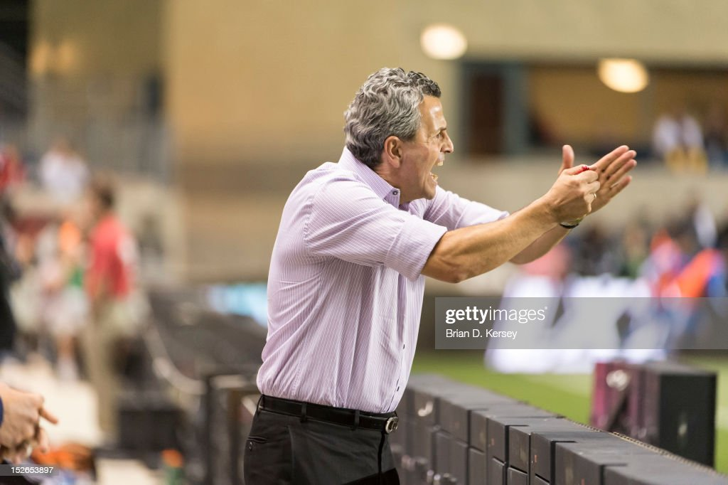 Head coach Frank Klopas of Chicago Fire yells to his team against the Montreal Impact at Toyota Park on September 15, 2012 in Bridgeview, Illinois. The Fire defeated the Impact 3-1.