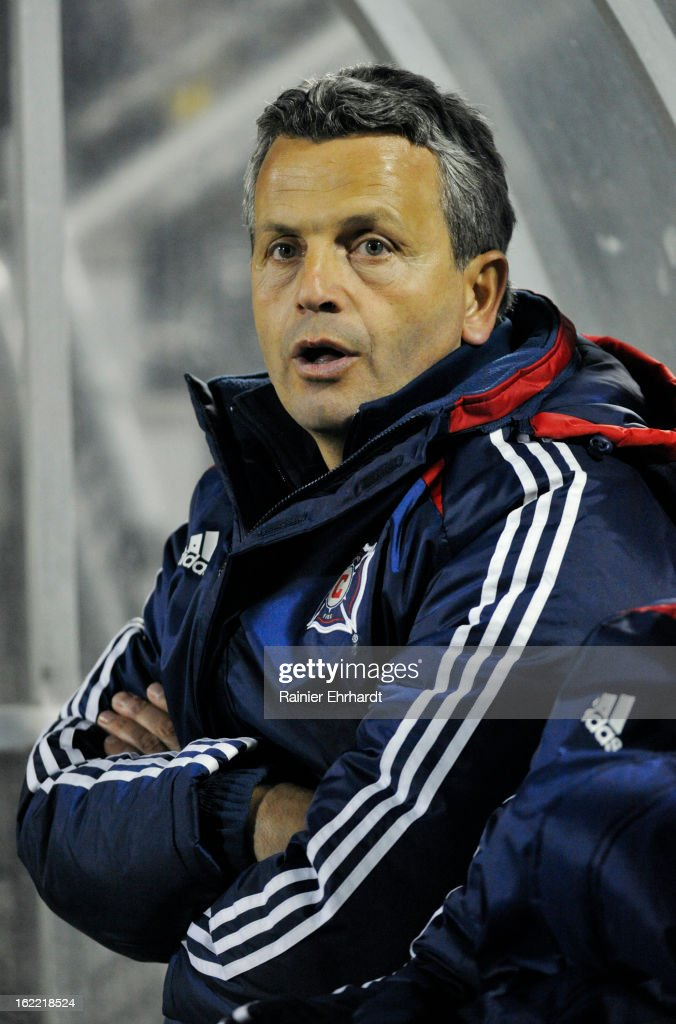 Head coach Frank Klopas of the Chicago Fire looks on during the second half of a game against the Charleston Battery at Blackbaud Stadium on February 20, 2013 in Charleston, North Carolina.