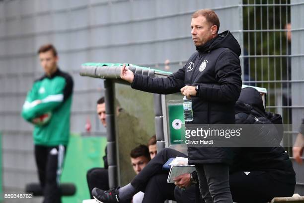 Head coach Frank Kramer of Germany gesticulated during the international friendly U20 match between U20 Germany and U20 Switzerland at Edmund...