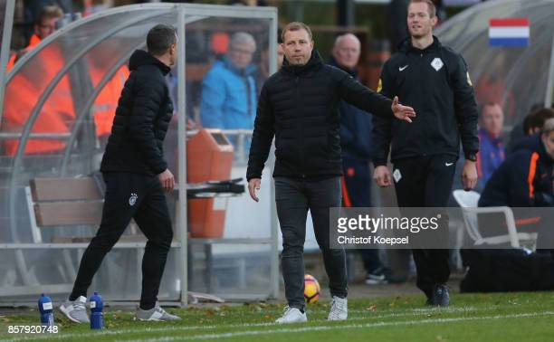 Head coach Frank Kramer of Germany issues instructions during the International friendly match between U20 Netherlands and U20 Germany U20 at...