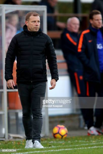 Head coach Frank Kramer of Germany looks on during the International friendly match between U20 Netherlands and U20 Germany U20 at Sportpark De...