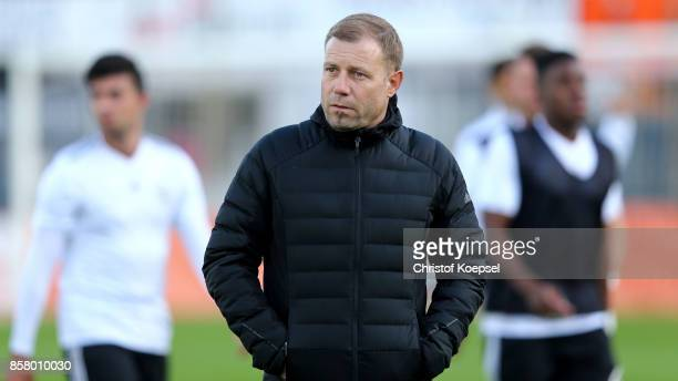Head coach Frank Kramer of Germany looks on prior to the International friendly match between U20 Netherlands and U20 Germany U20 at Sportpark De...